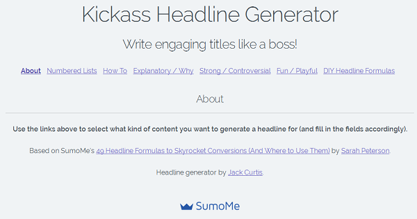 Kickass Headline Generator by Sumome