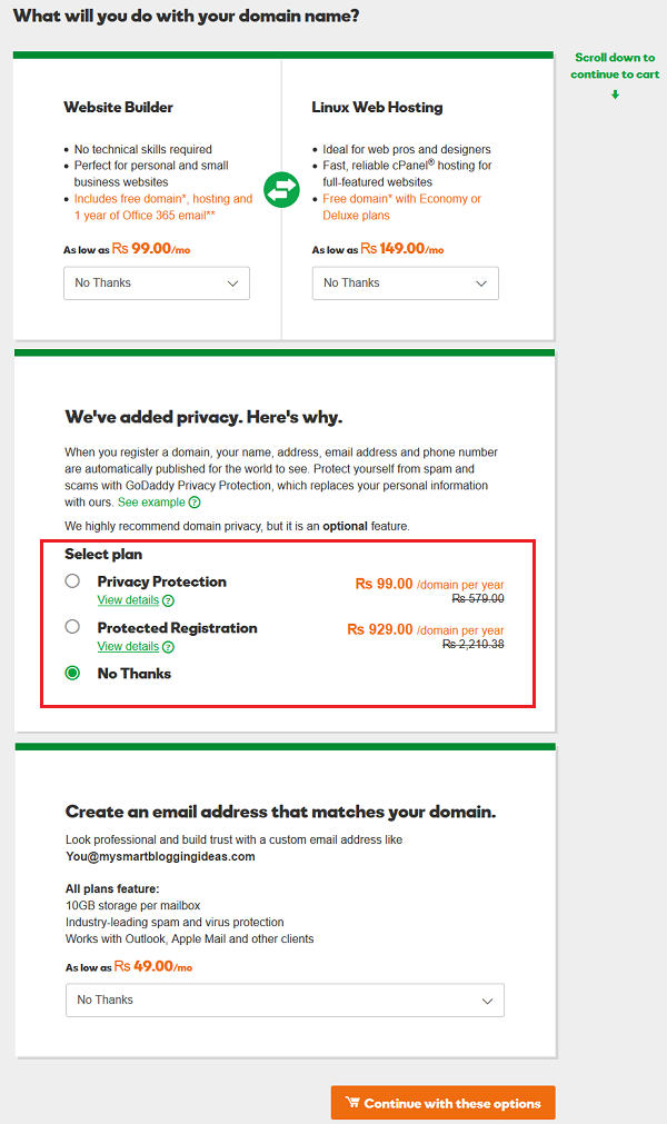 GoDaddy Domain Features Selection