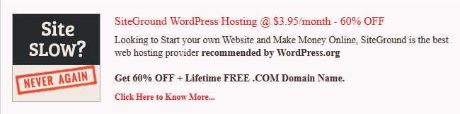 SiteGround WordPress Hosting Promo Discount 60 OFF